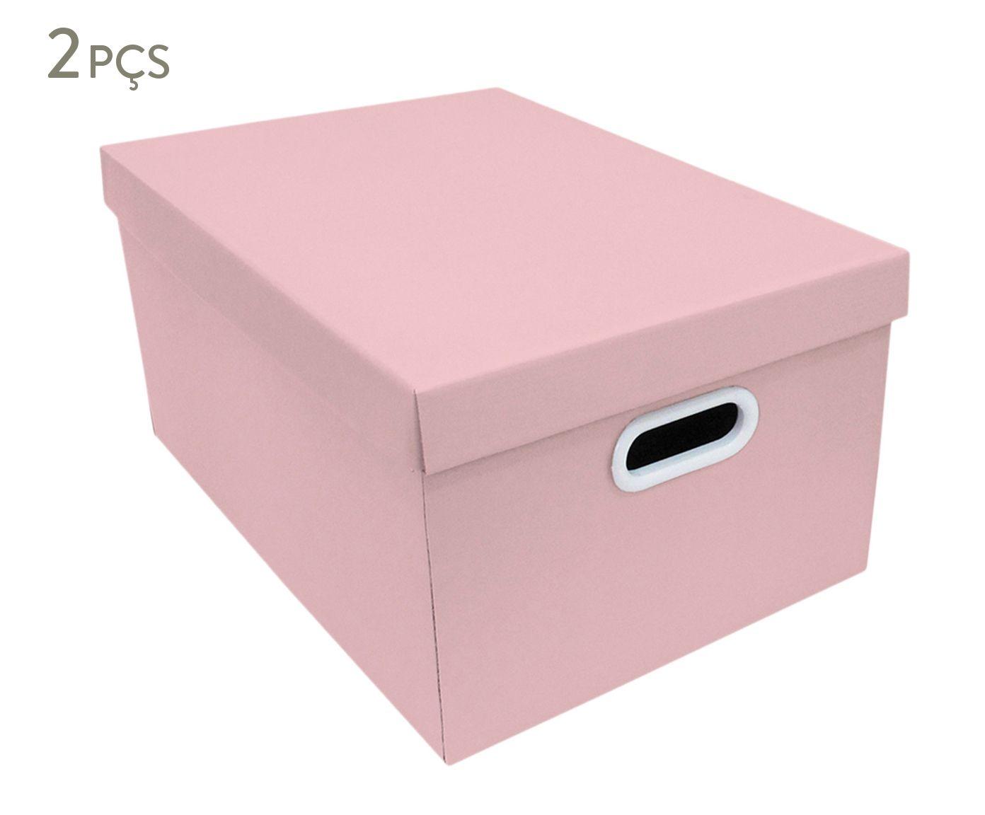 Jogo de Caixas Organizadoras Stok Doors Rosa - 31X22X43cm | Westwing.com.br