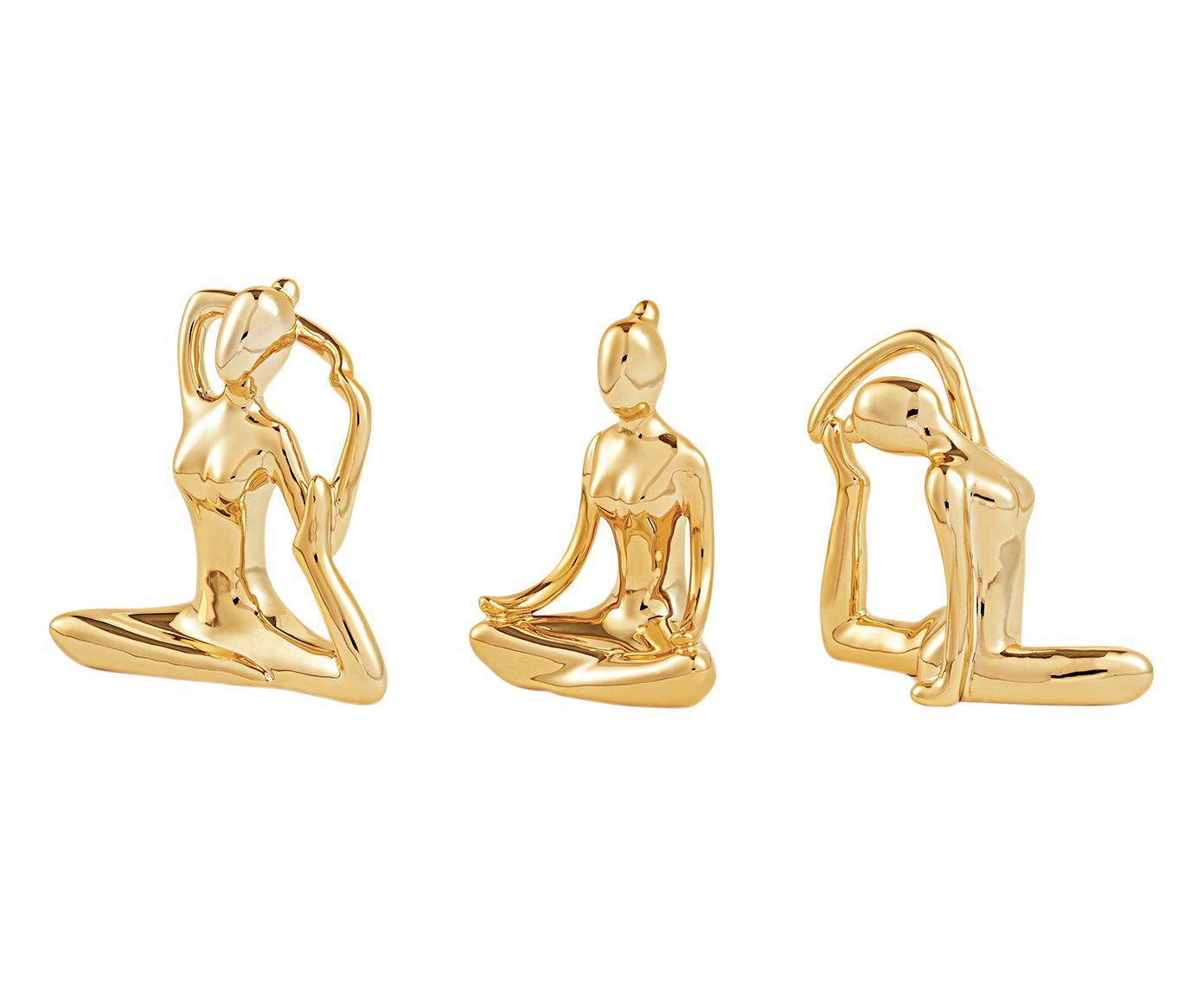 Jogo de Adornos em Porcelana Yoga Dourado   Westwing.com.br