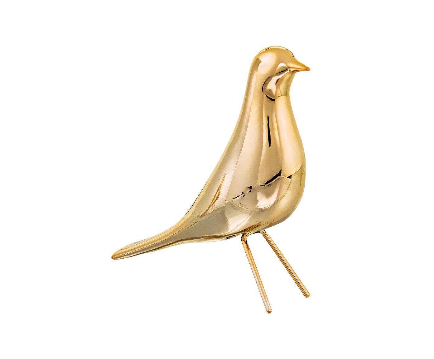 Adorno Pássaro Hermi Dourado - 6X18X17,5cm | Westwing.com.br