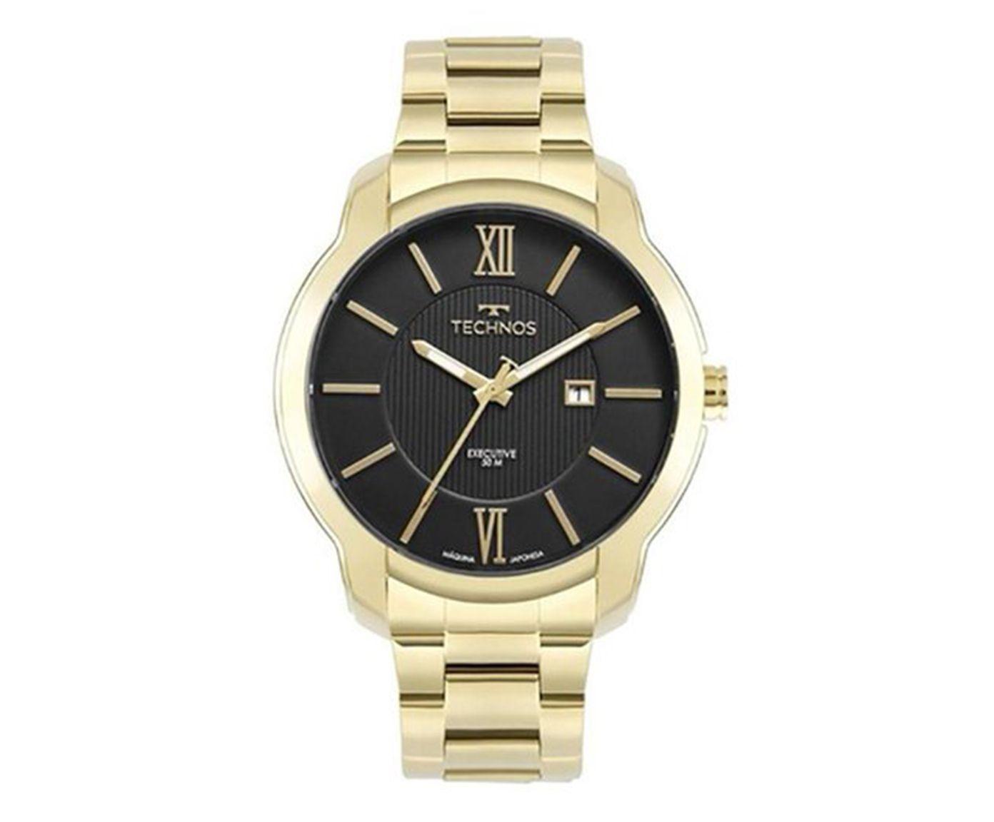 Relógio Analógico Technos Dourado e Preto | Westwing.com.br