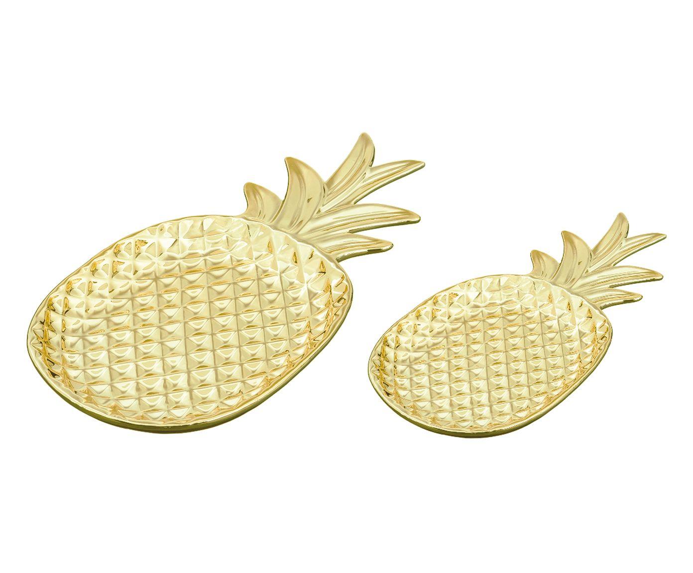 Jogo de Pratos Decorativos Abacaxi - Dourado | Westwing.com.br