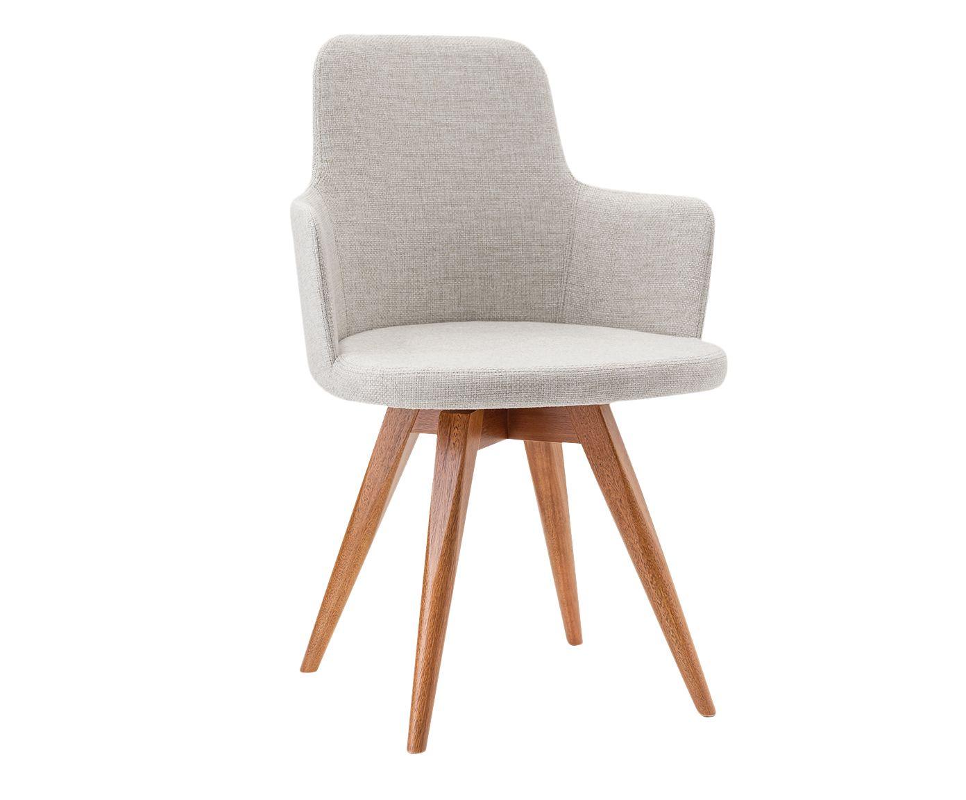Cadeira em Linho Giratória Tina Cinza Claro - 55X86X53cm | Westwing.com.br