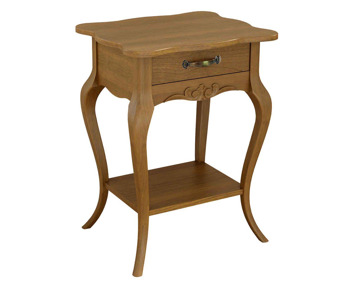 Mesa de Cabeceira com Prateleira D'Or Une Natural - 53X71,5X45cm | Westwing.com.br
