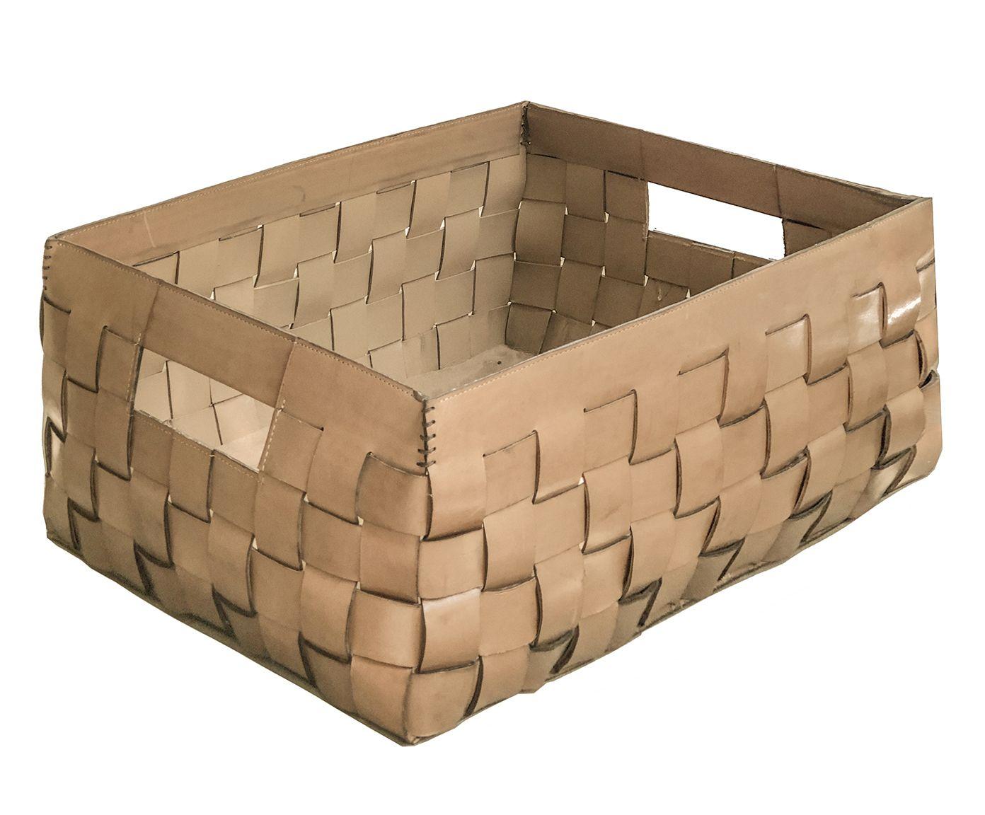 Cesto Organizador em Couro Rústico Vintage Toffee - 48X20X40cm | Westwing.com.br