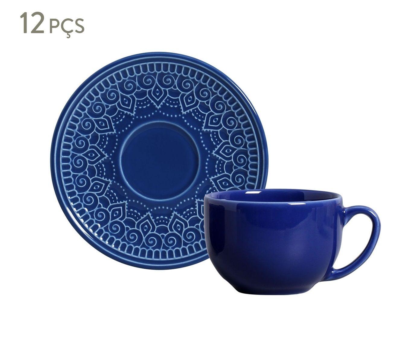 Jogo de Xícaras para Chá com Pires Agra Azul Navy - 260ml | Westwing.com.br