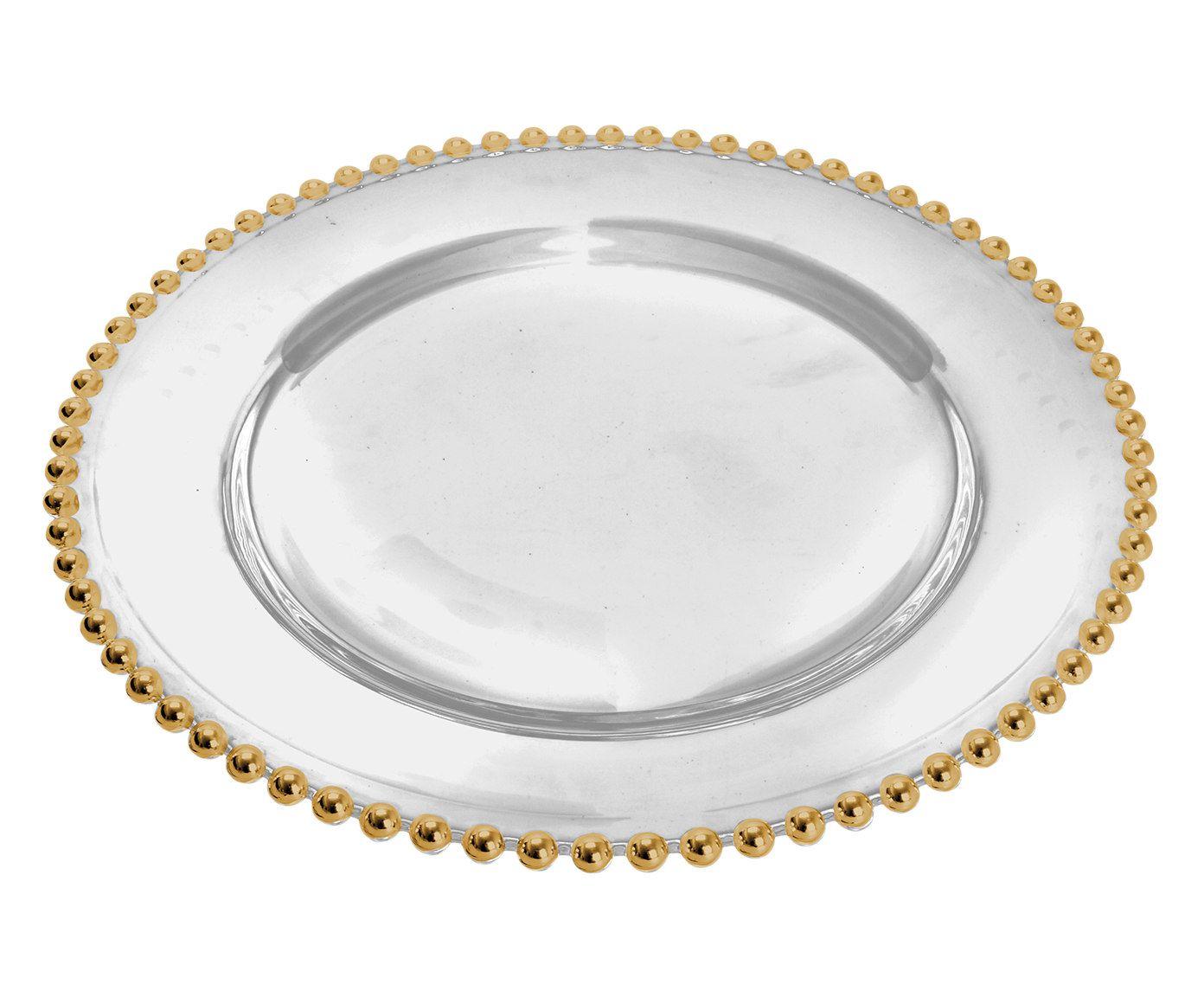 Sousplat em Cristal Bolinha Dourado - 31,5cm   Westwing.com.br