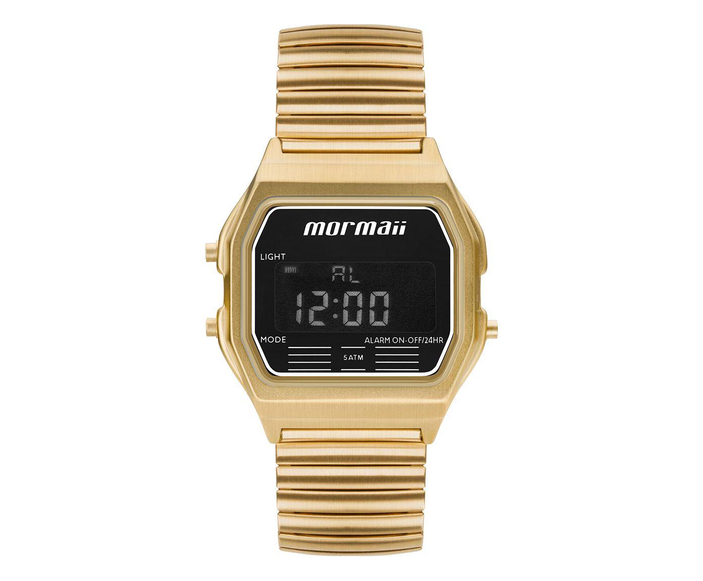 Relógio Digital Vintage Mormaii Quadrado Dourado | Westwing.com.br