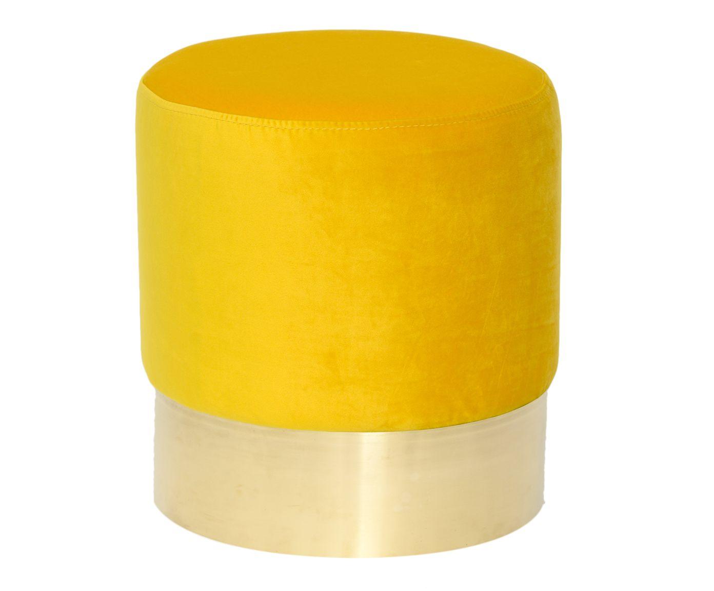 Pufe em Veludo Harlow Amarelo - 38cm | Westwing.com.br