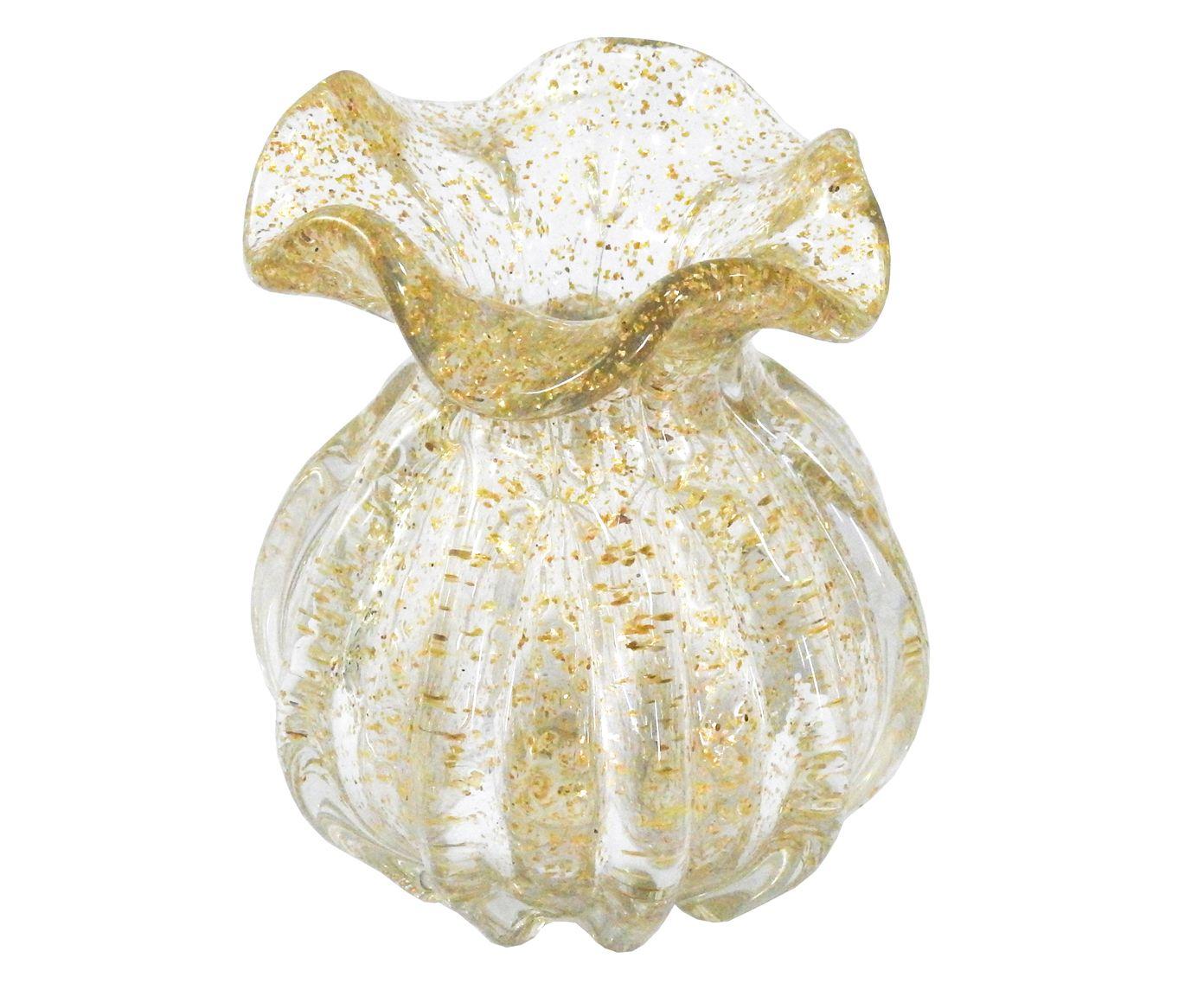 Vaso Aliaga Transparente e Dourado - 13X11cm | Westwing.com.br