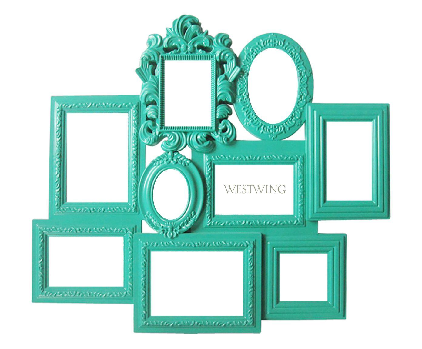 Porta-Retrato Multiple Barroque Frame Verde Água - 62X56X5cm | Westwing.com.br