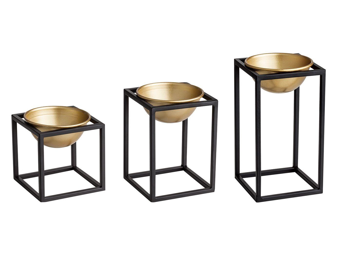 Jogo de Cachepots com Suporte Cube - Dourado | Westwing.com.br