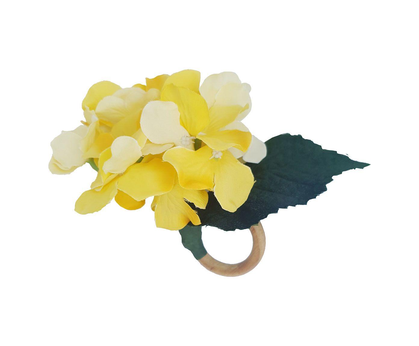 Anel para Guardanapo Hortênsia Amarela - 12X6cm | Westwing.com.br