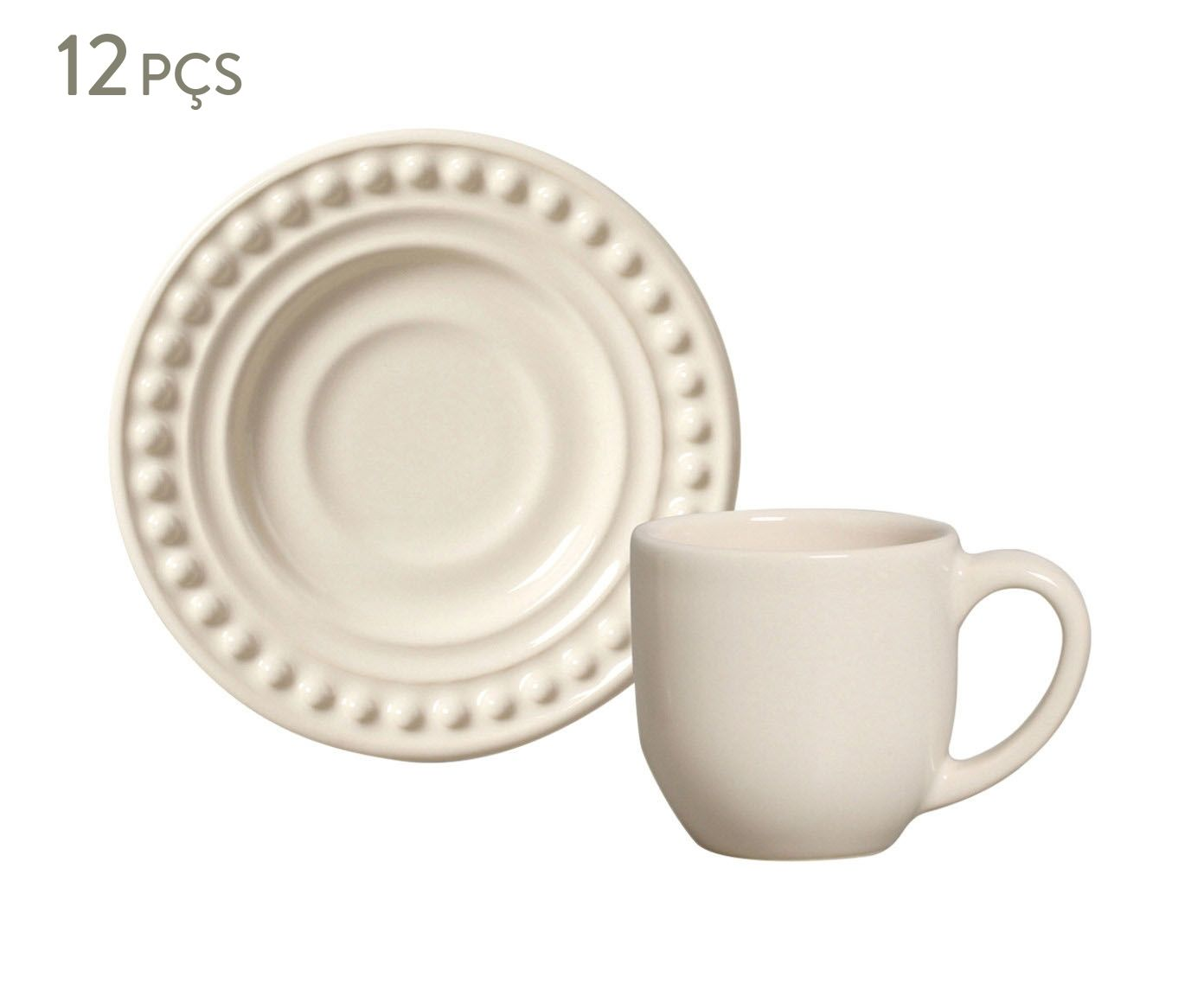 Jogo de Xícaras para Café com Pires Atenas Cru - 75ml | Westwing.com.br