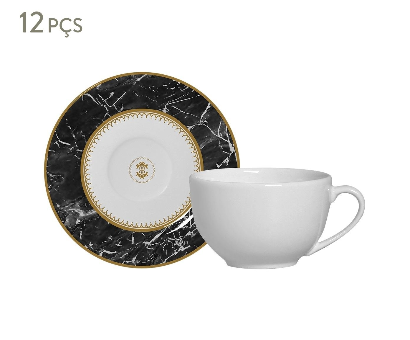 Jogo de Xícaras para Chá com Pires Marble Preto - 300ml | Westwing.com.br