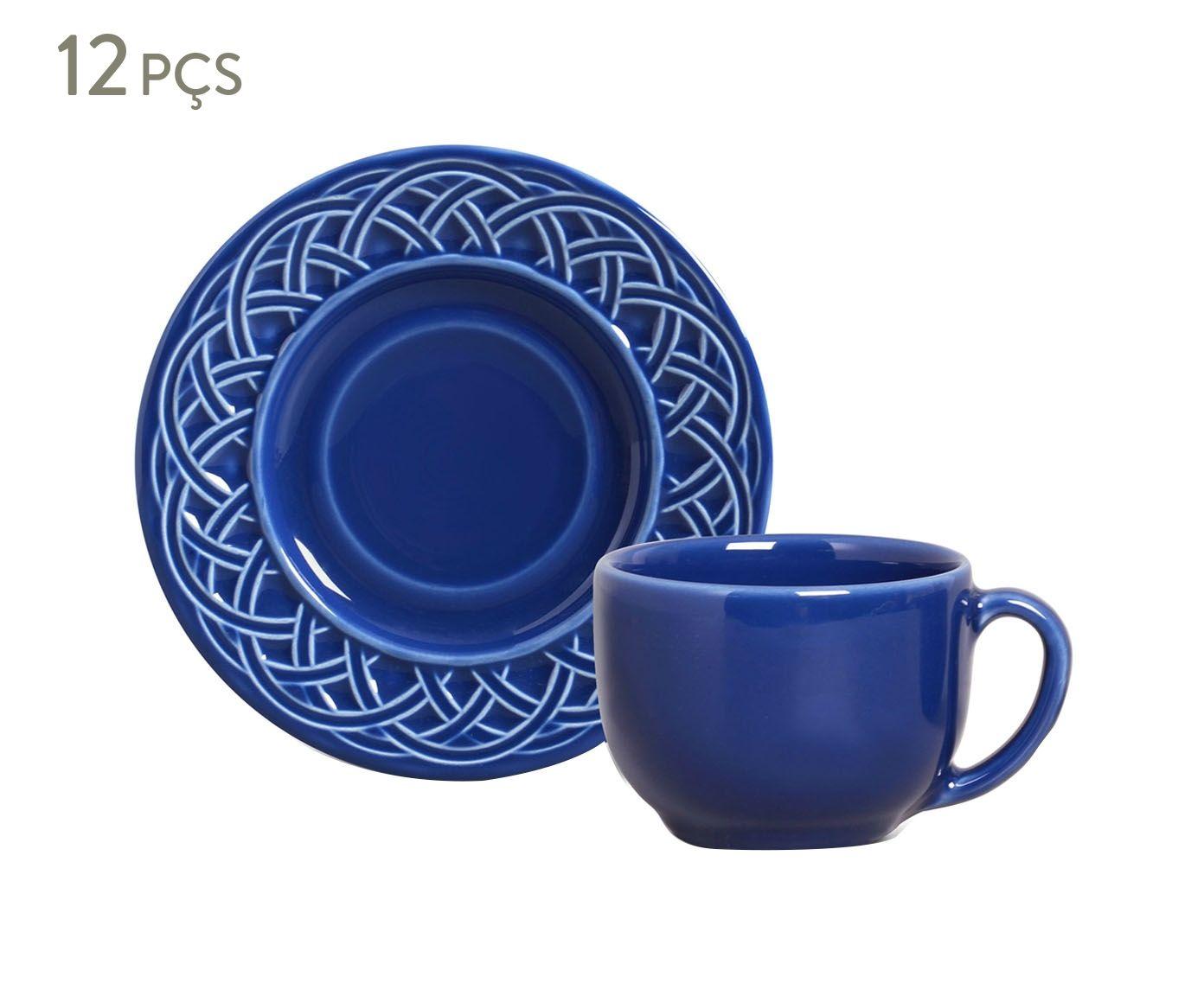 Jogo de Xícaras para Chá com Pires Cestino Azul Navy - 161ml   Westwing.com.br