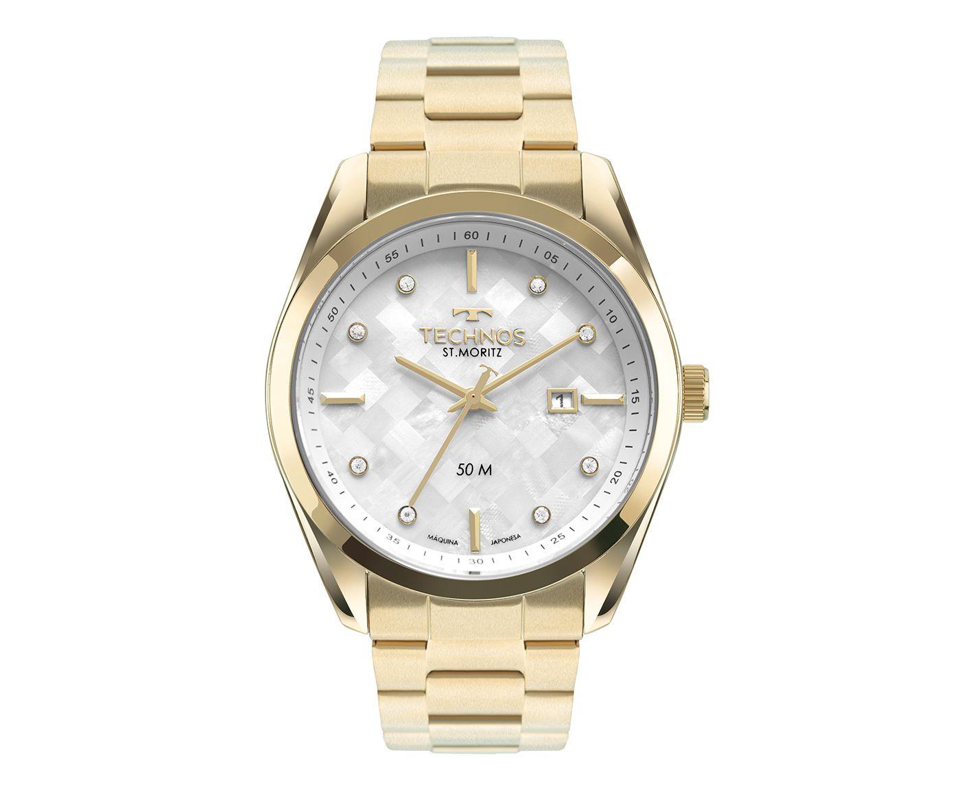 Relógio Analógico Technos Metal Dourado e Branco   Westwing.com.br