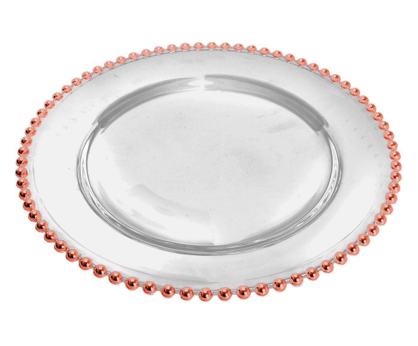 Sousplat em Cristal Bolinha AAcobreadoado - 31,5X3cm | Westwing.com.br