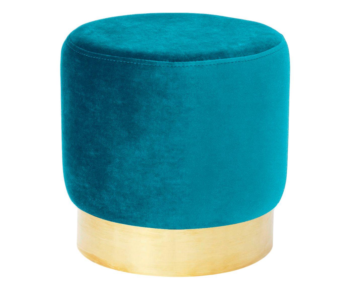 Pufe em Veludo Harlow Azul Pav‹o - 40cm | Westwing.com.br