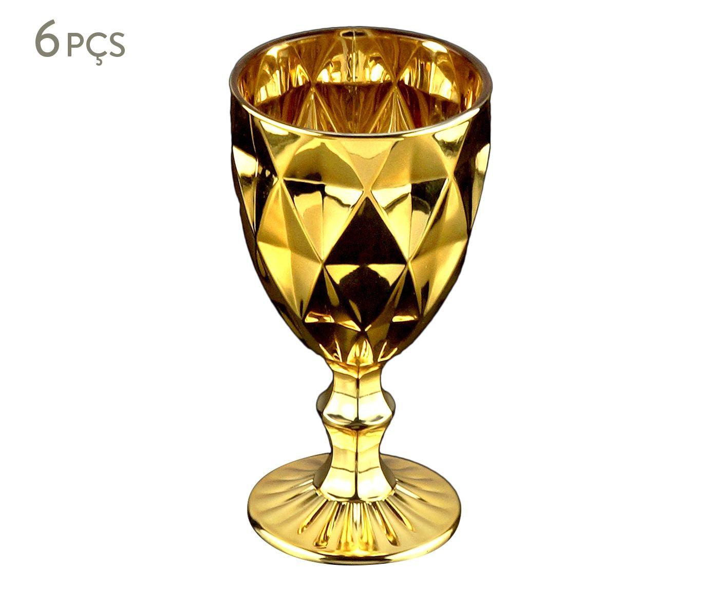 Jogo de Taças para Água Diamond Dourado - 325ml | Westwing.com.br