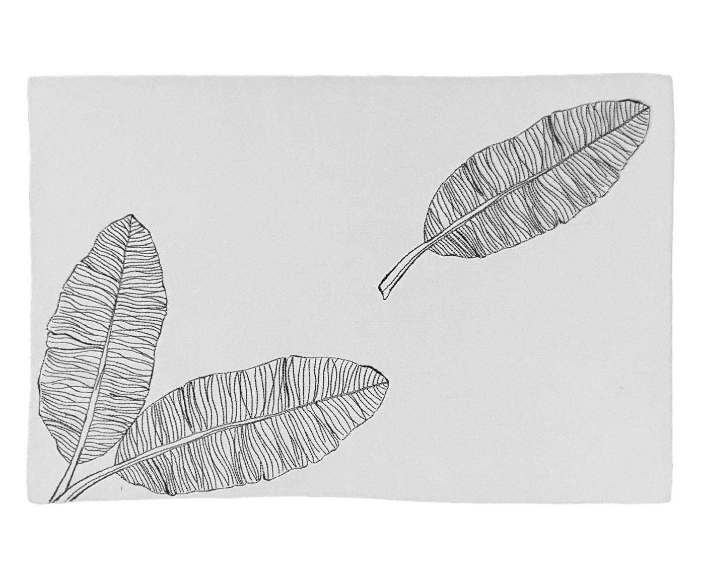 Lugar Americano Flora Branco com Bordado Preto - 35X50cm | Westwing.com.br