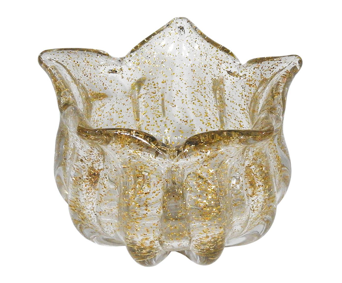 Vaso Decorativo Milas Transparente e Dourado 12x17cm | Westwing.com.br