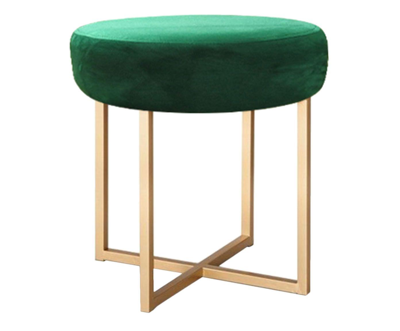 Banquinho em Veludo Round Dourado e Verde - 40X45X40cm | Westwing.com.br
