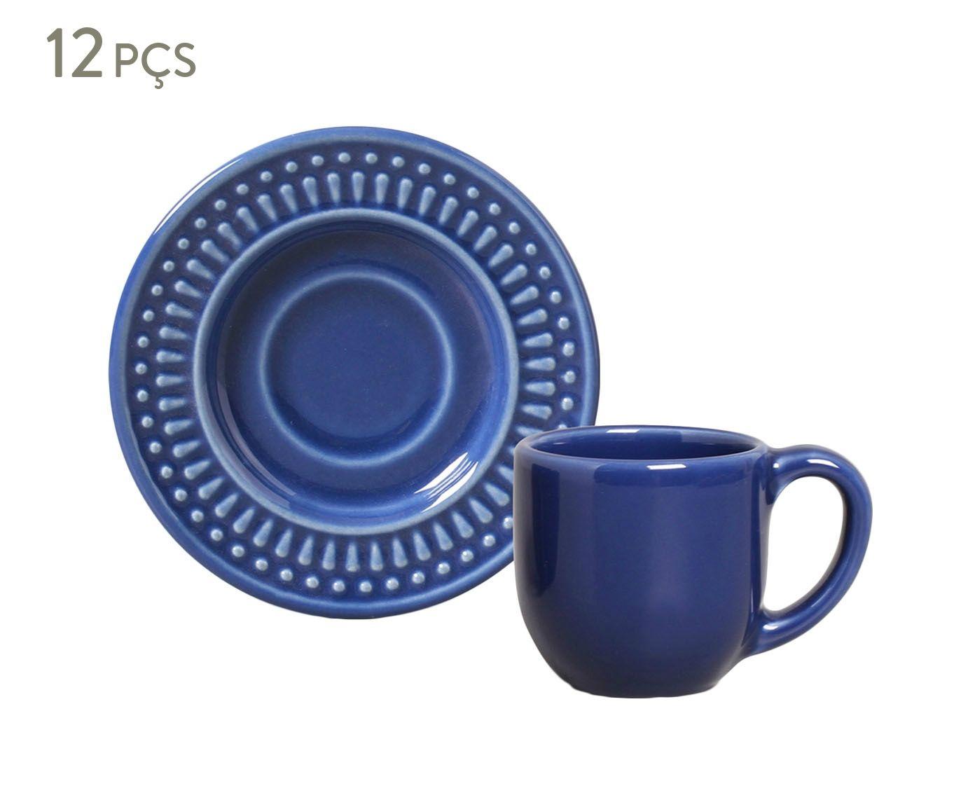Jogo de Xícaras para Café com Pires Roma Azul Navy - 75ml   Westwing.com.br