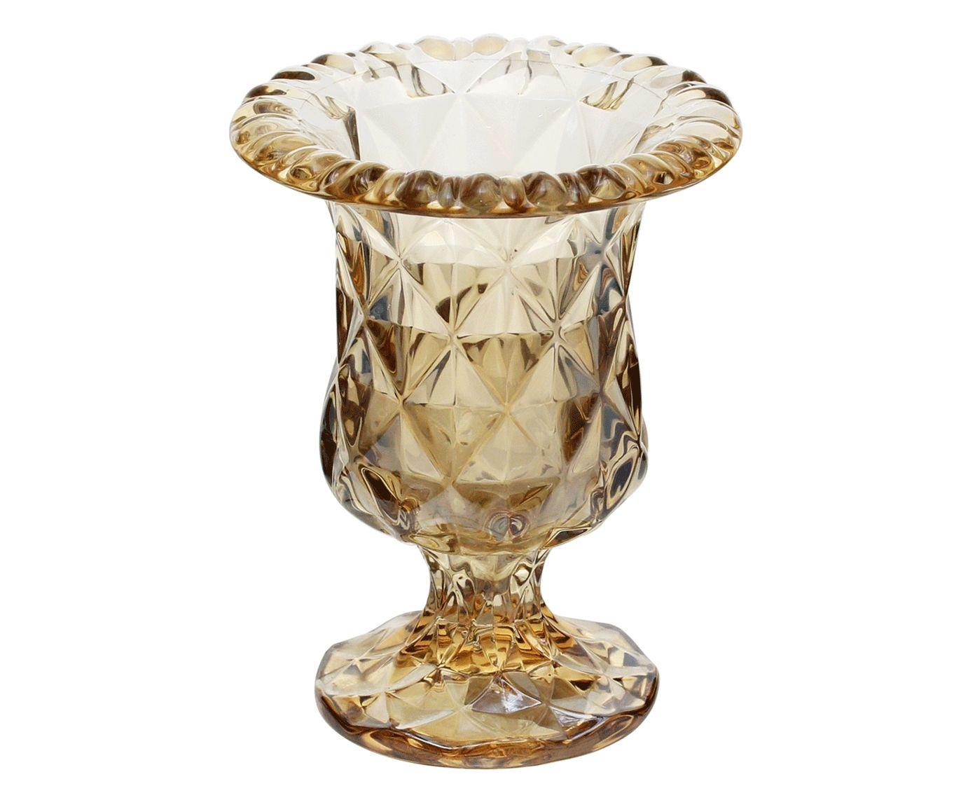 Vaso com Pé Diamond Âmbar Metalizado - 14,5X11,5cm | Westwing.com.br