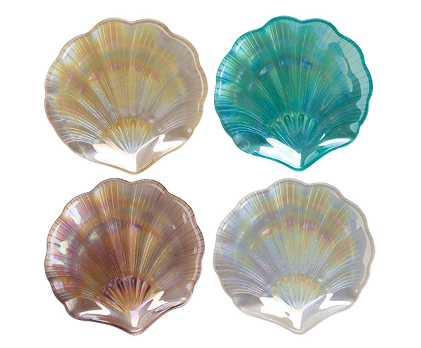 Jogo de Centros de Mesa Deep Sea Conchas Azul e Marrom - 14X4X14cm   Westwing.com.br