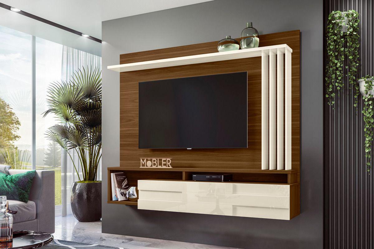 Home Suspenso com 1 Porta Basculante e 5 Prateleiras Roma para Tv Ate 60 Polegadas Freijo/Off White Mobler - Mobler   Westwing.com.br