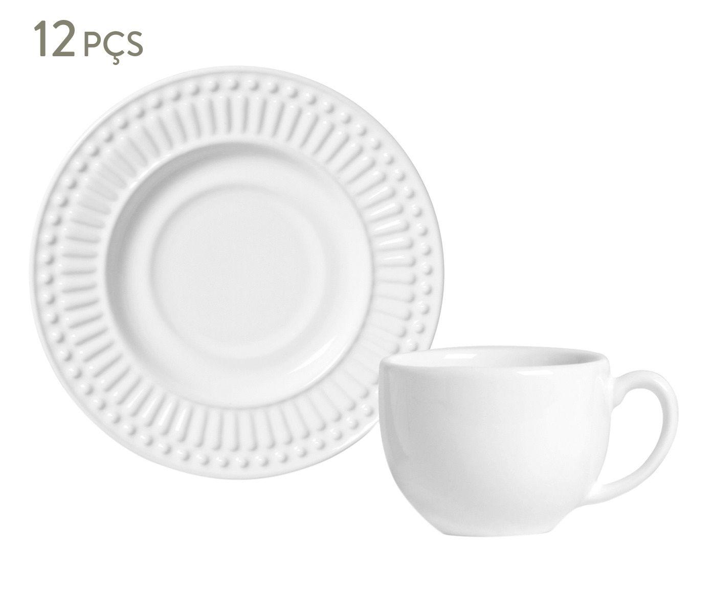 Jogo de Xícaras para Chá com Pires Roma Branco - 160ml | Westwing.com.br