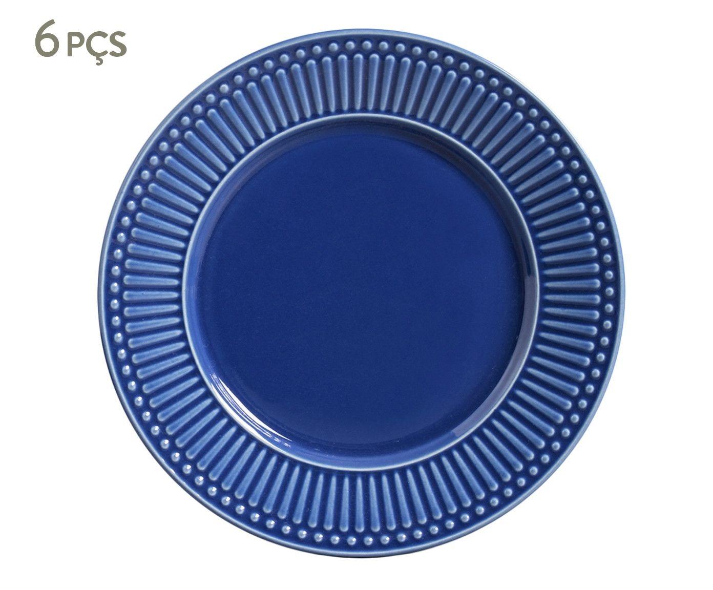 Jogo de Pratos Rasos Roma Azul Navy - 26,5cm   Westwing.com.br