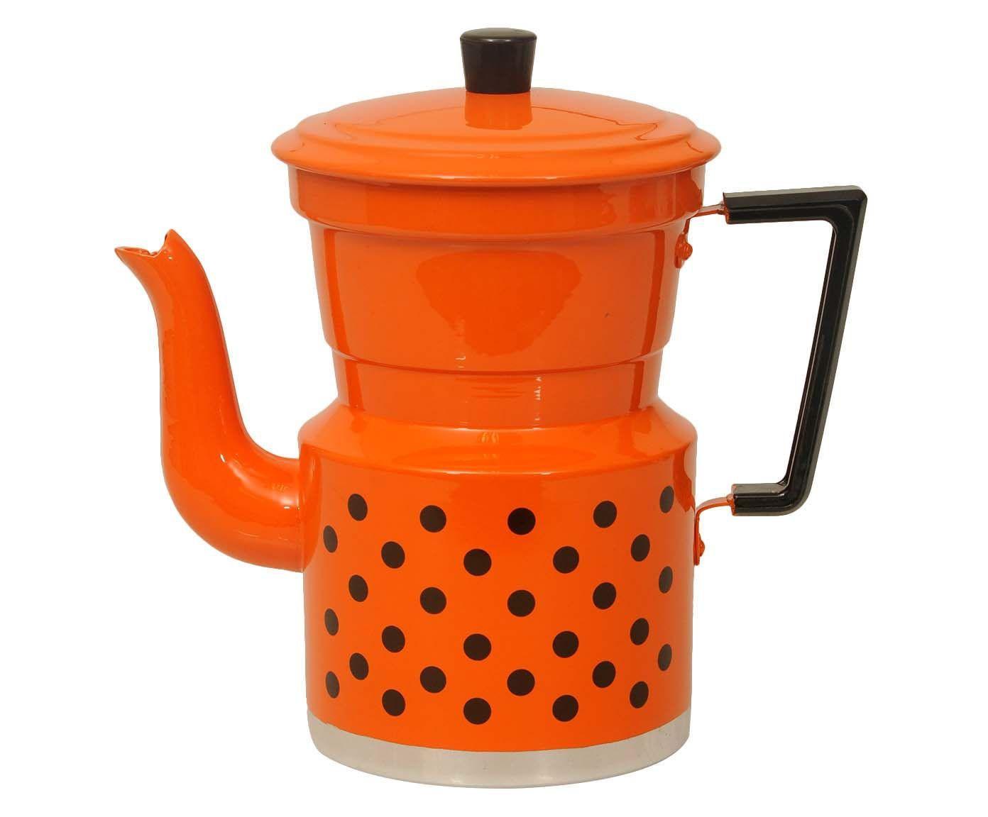 Cafeteira Polka Dots Laranja e Preta - 1,5L | Westwing.com.br