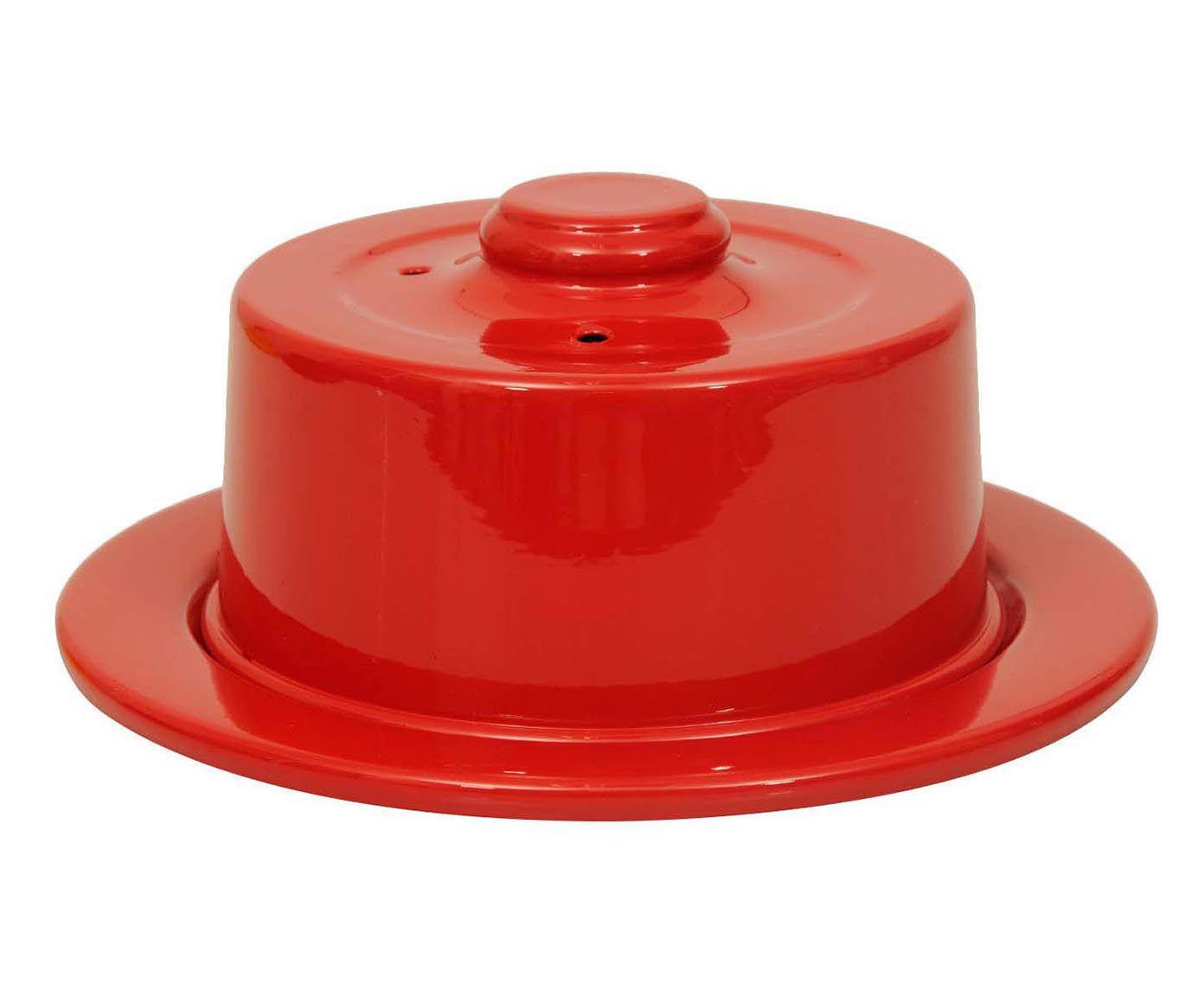 Prato para Queijo com Tampa Slim Vermelho - 22,5cm | Westwing.com.br