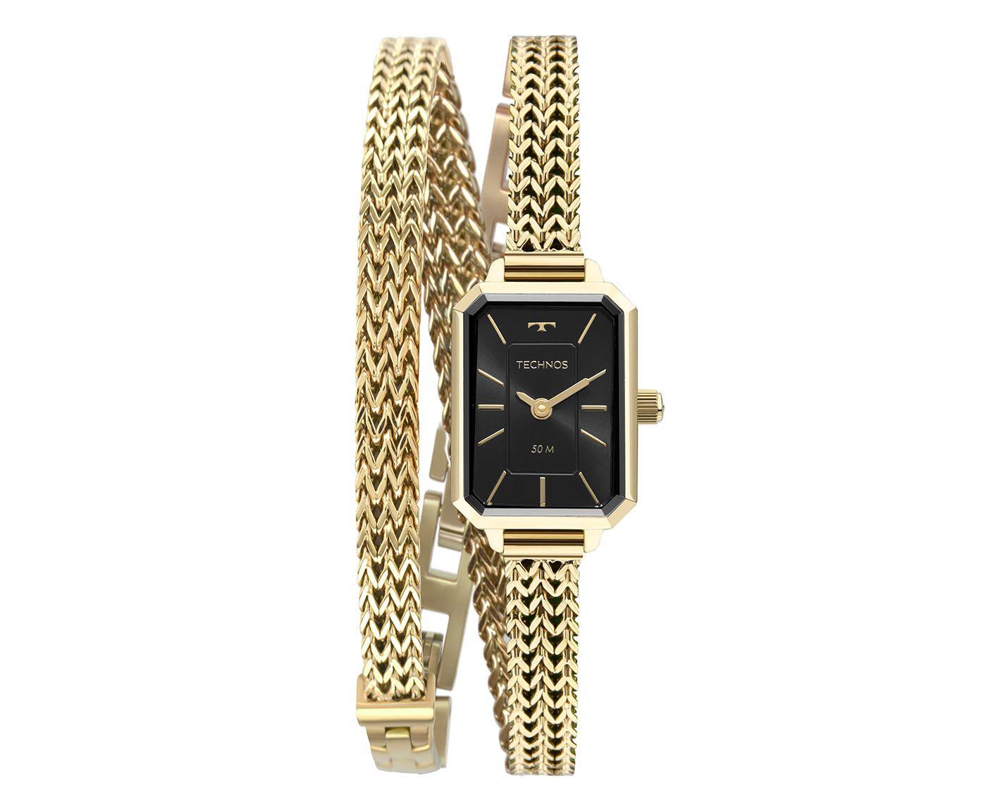 Relógio Analógico Technos Quadrado Dourado e Preto | Westwing.com.br