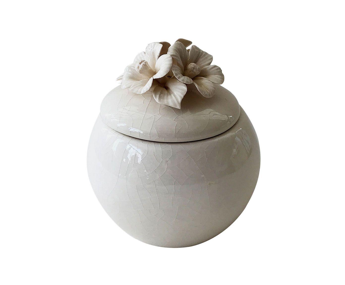 Pote Decorativo Flor Branco - 8cm   Westwing.com.br