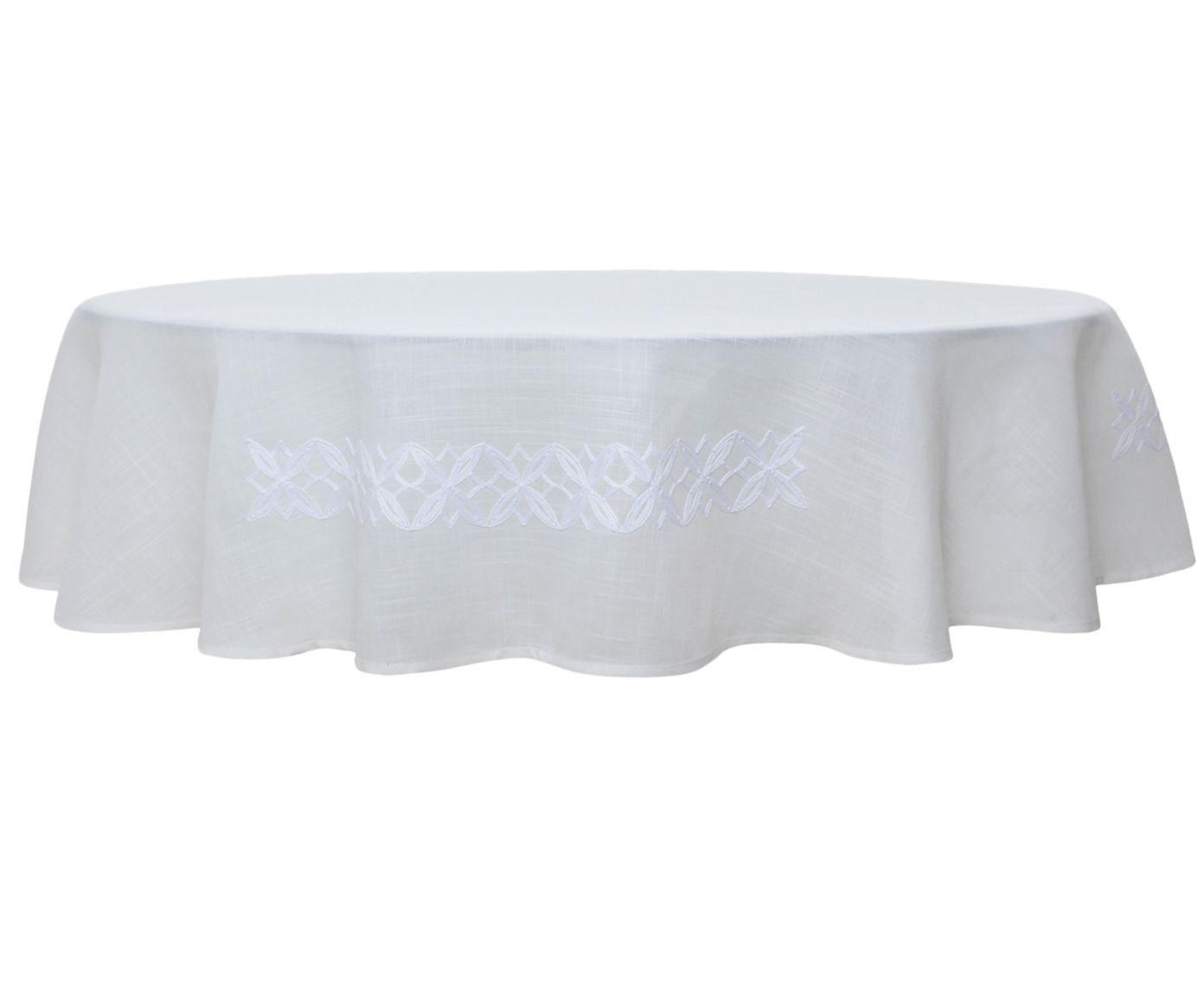 Toalha de Mesa em Linho Auguri Fiori Branca - 180cm   Westwing.com.br