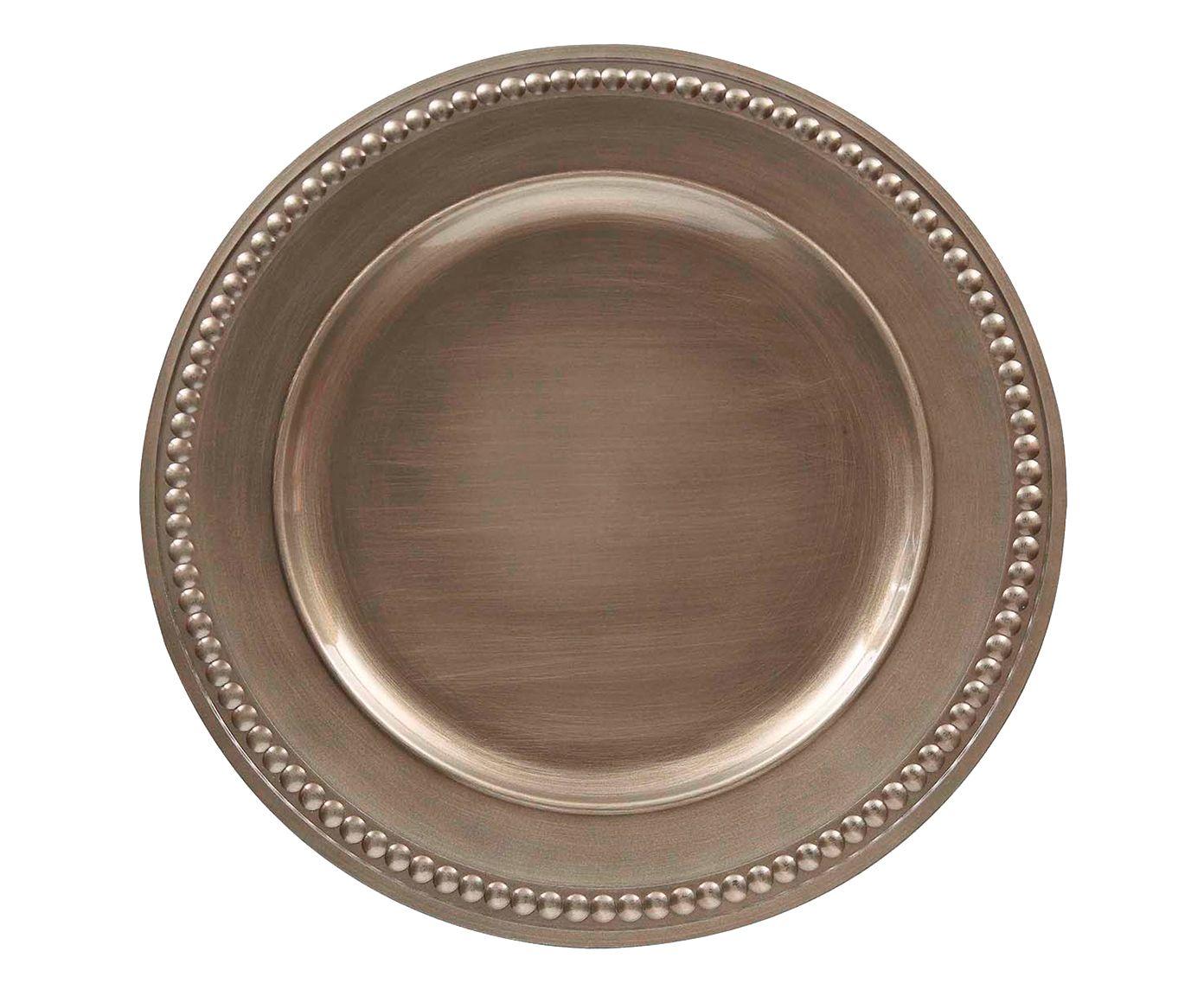 Sousplat Galles Dots Champanhe Antique - 38cm   Westwing.com.br