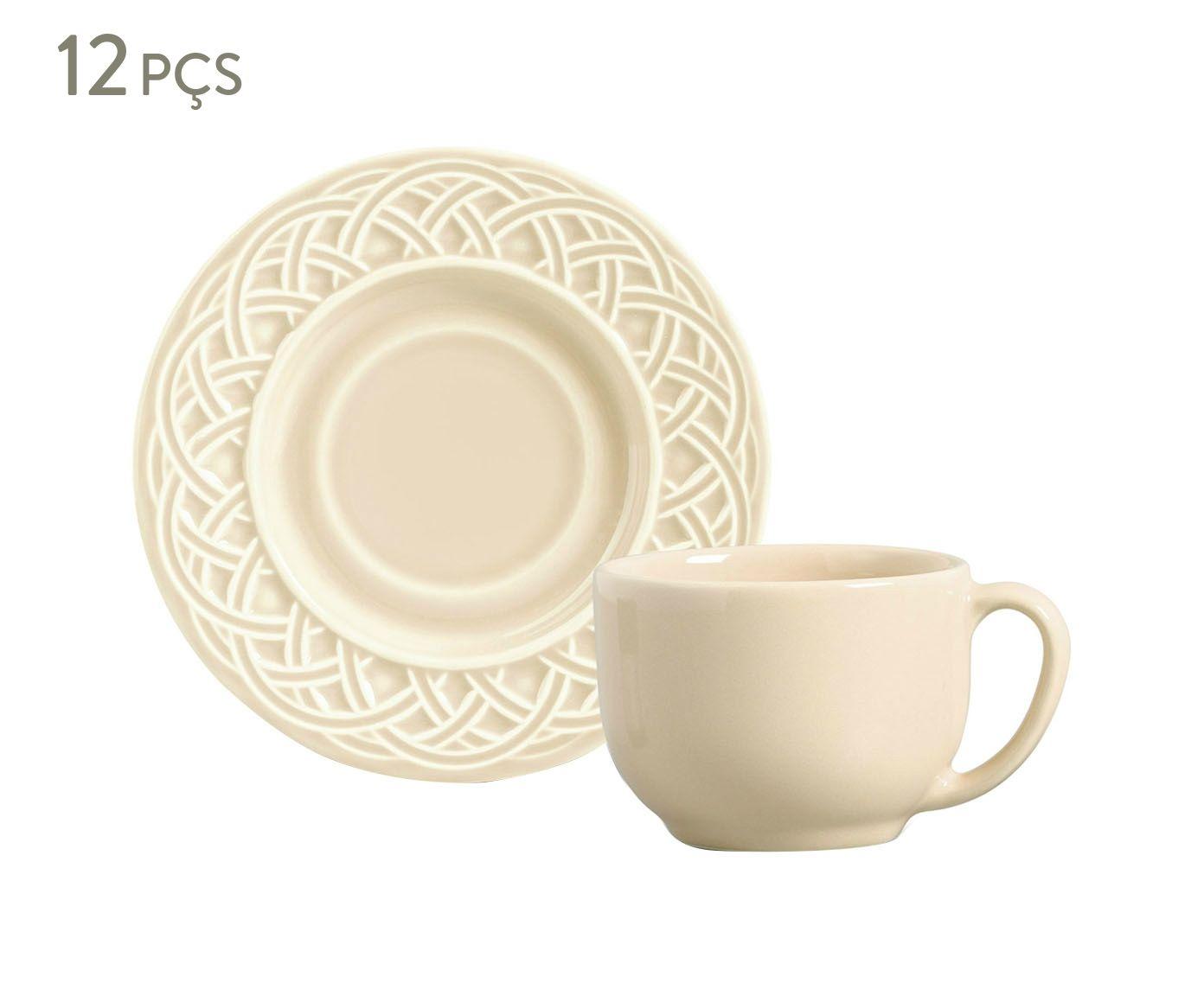 Jogo de Xícaras para Chá com Pires Cestino Cru - 161ml   Westwing.com.br