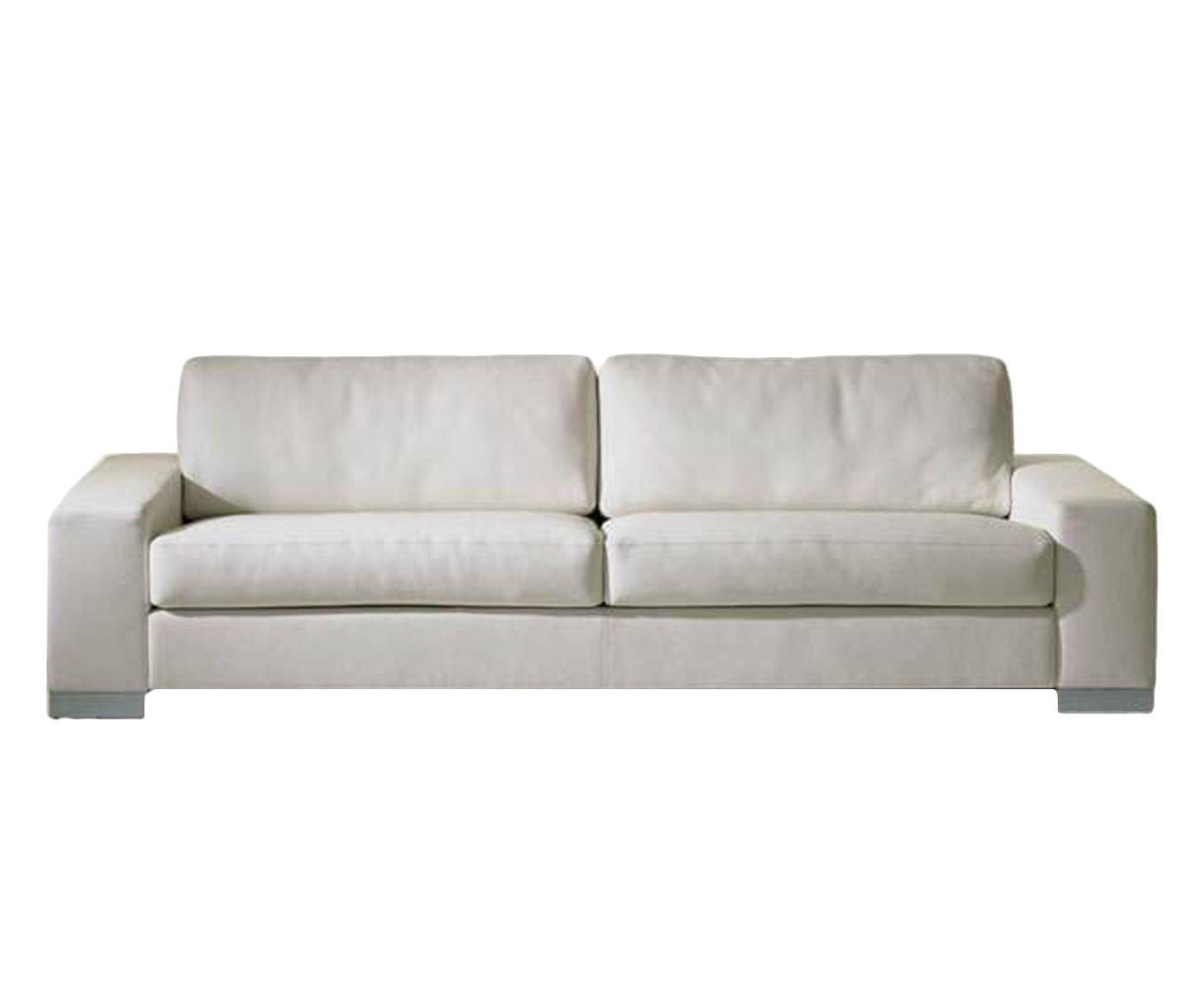 Sofá em Couro Nature Branco - 220X85X85cm | Westwing.com.br