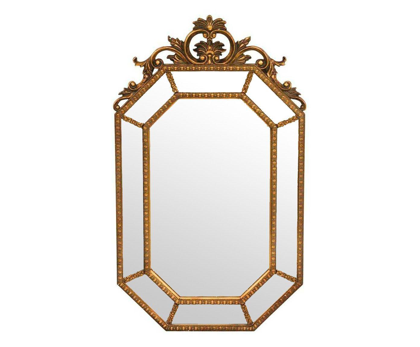 Espelho de Parede Oitavado Dourado - 59X100cm   Westwing.com.br