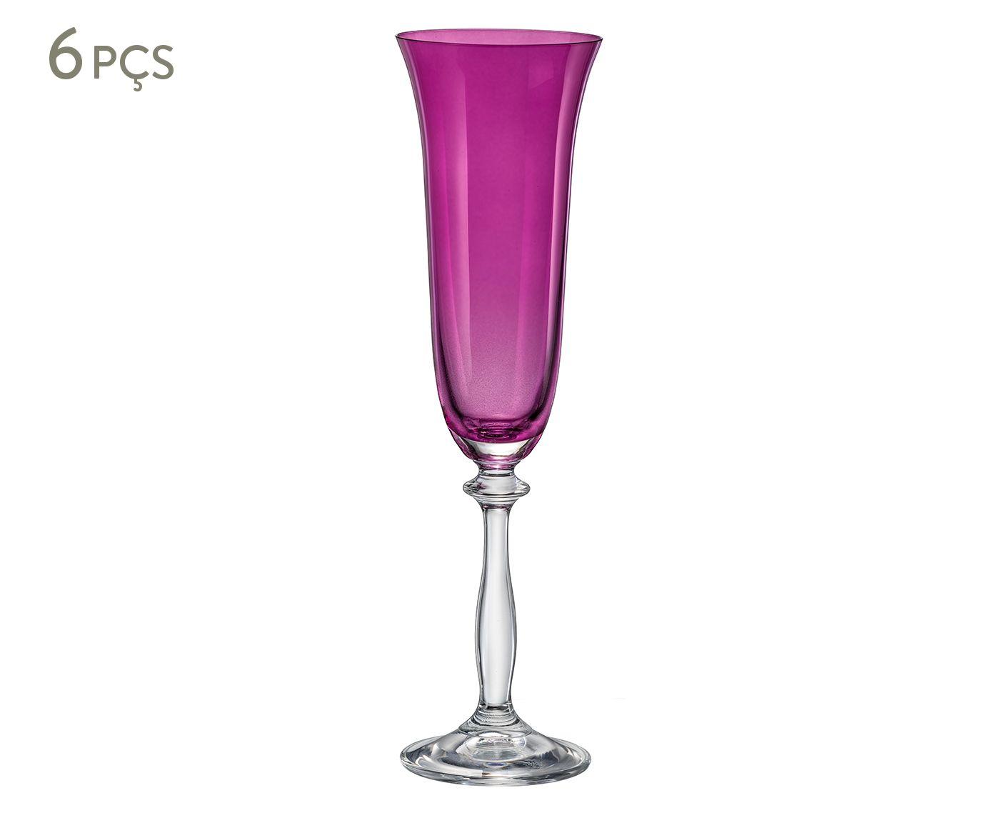 Jogo de Taças para Champagne em Cristal Ecológico Angela Roxo - 190ml   Westwing.com.br