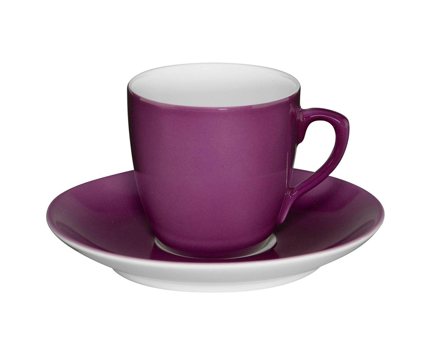 Xícara para Café com Pires em Porcelana Colours Roxa - 91ml | Westwing.com.br