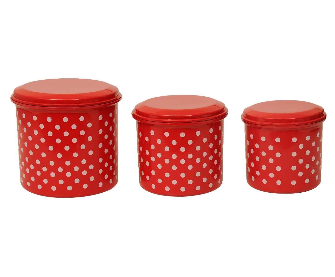 Jogo de Porta-Condimentos Polka Dots - Vermelho e Branco   Westwing.com.br