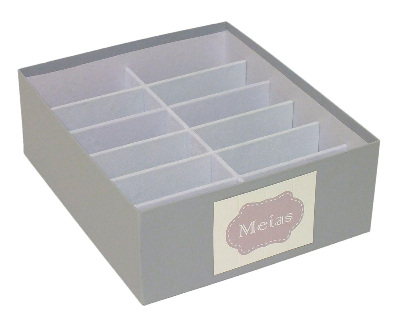 Caixa Organizadora para Meias Tag Nola Cinza - 30X10X25cm   Westwing.com.br