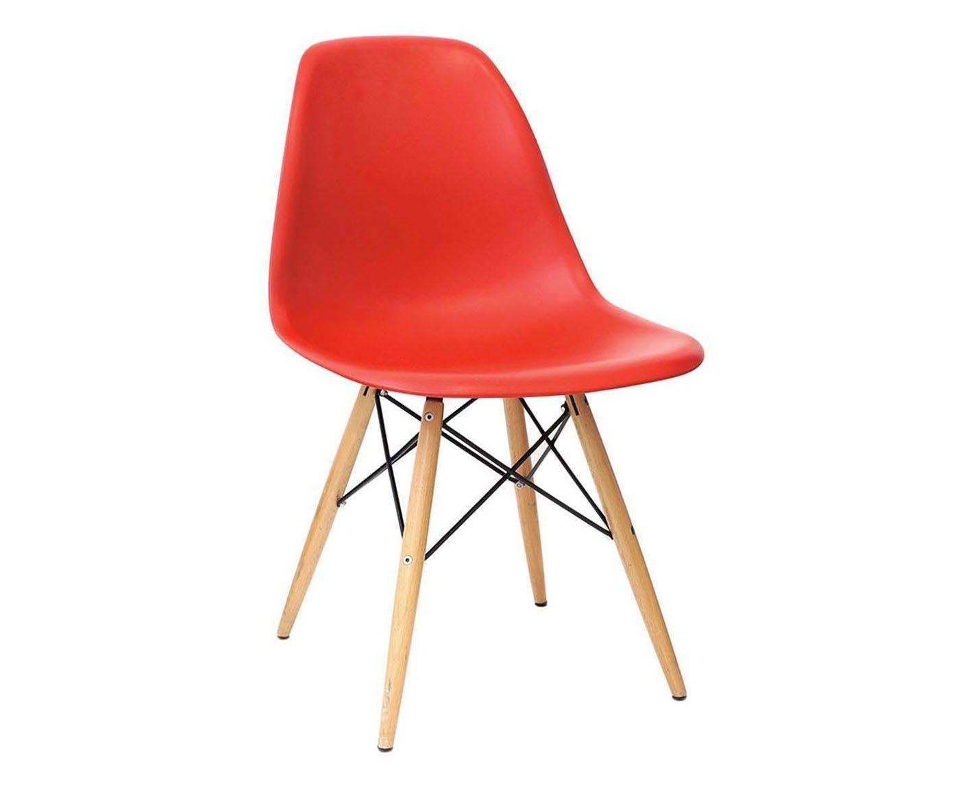 Cadeira em Polipropileno Paris Wood Vermelha - 46,5X80,5X42cm | Westwing.com.br
