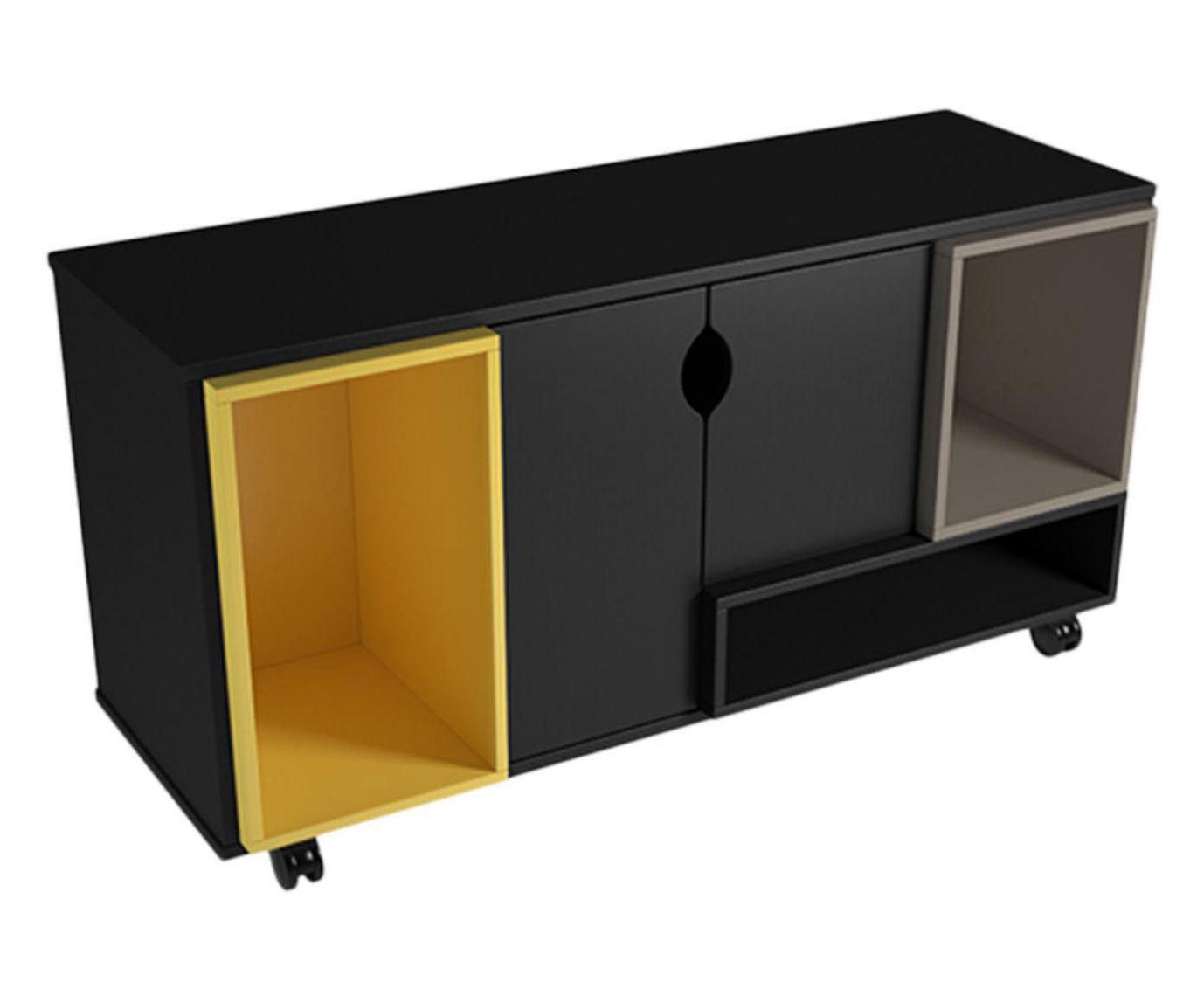 Rack Retalho Preto e Amarelo - 120x63,9cm | Westwing.com.br