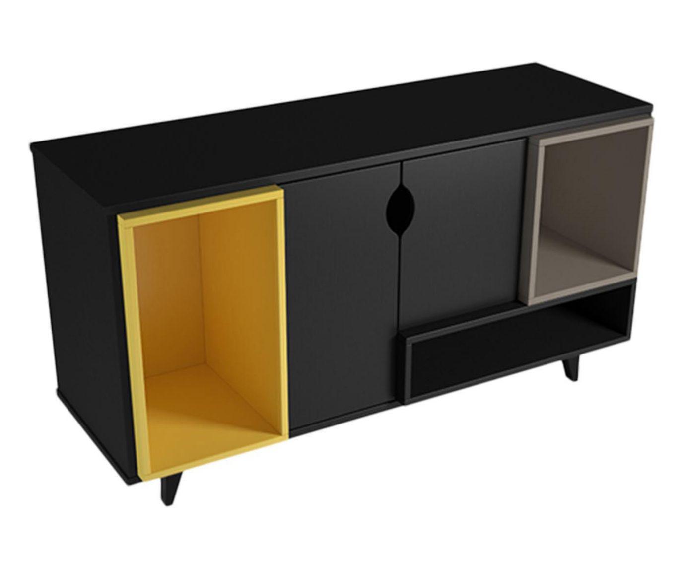 Rack Retalho Preto e Amarelo - 120x68,7cm | Westwing.com.br